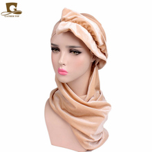 TJM-278A Womens Velvet Turban cap with scarf head wrap Muslim Hijab Headband(China)