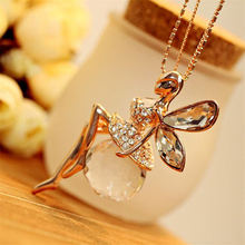 LNRRABC Women Crystal Shiny Fairy Rhinestones Angel Wings Long Chain Party Pendant Necklace Sweater Chain Fashion Jewelry(China)