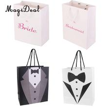 4pcs Novelty Bride Bridesmaid Printed Groom Tuxedo Pattern Present Keepsake Wedding Party Paper Gift Favor Handle Bags(China)