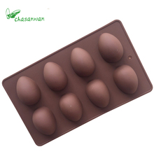 2016 Hot  Sale1 pcs 27*16*3cm 8 Grids Egg Shape Chocolate Fondant Cake Cookie Silicone Mold Decorating Tools DIY Soap Mold .b