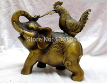 "Free shipping AA 001058 7"" China brass fine workmanship copper chicken ruyi Elephant Sculpture Statue(China)"