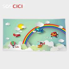 Custom Microfiber Ultra Soft Bath/hand Towel,Children Plane Hot Air Balloon Helicopter Flying on Rainbow Sunny Sky Happy Baby