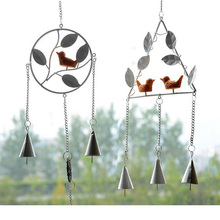 1 Piece White Gray Circular Triangle Noise Maker Cute Bird Home Metal Decoration Handmade Strap Crafts Children Interest Gift