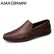 AMAGINMNI big size 36-47 slip casual men loafers spring autumn mens moccasins shoes genuine leather men's flats shoes