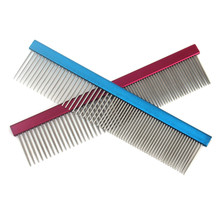 High Quality Pet Grooming Tools Puppy Dog Cats Stainless Steel Needle Comb Dog Hair Smooth Brush Red Blue