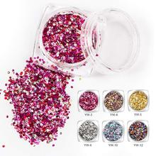 Ellwings 3D Mixed Colors Hexagon Sequins Nail Sparkle Nail Art Decoration Shining Nail Glitter Powder Mermaid Dust Manicure