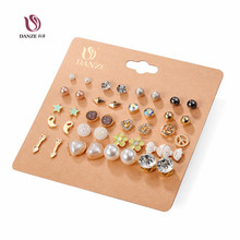DANZE 20 Pairs/lot Punk Fashion Stud Earrings Set For Women Elegant Mixed Crystal Flower Bow metal Ball Earings Jewelry 5 Styles(China)