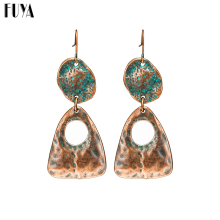 Retro Red Copper Plating Metal Dangle Long Bohemia Tassels Earrings For Women Hollow Circle Drop Earring Punk Jewelry