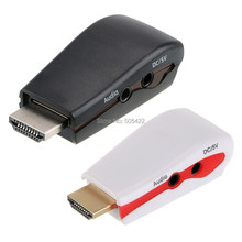 DHL Shipping 1080P HDMI Male to VGA Female Video Converter Adapter +USB Power Audio Cable