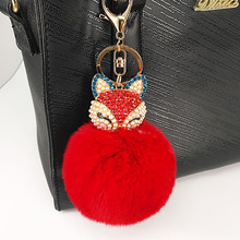 LNRRABC Fashion Women Charm Soft Artificial Rabbit Fur Inset Rhinestones Fox Pom Pom Keychain Keyring Car Bag Jewelry Accessory(China)