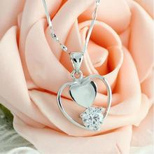 Simple and stylish love heart necklace, 925 sterling silver heart pendant necklace t0108