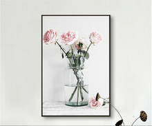 Pink rose glass vase simple style frameless painting
