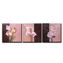 3pcs Oil Painting Hand Painted Canvas Painting Set Orchid Flower Modern Picture Canvas Paint Wall Art for Living Room Decoration