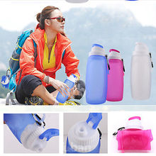 Collapsible Silicone Drinking Bottle Cute Silicone Sports Kettle Hot Pink Drinkwear Foldable Water Bottle 320ml