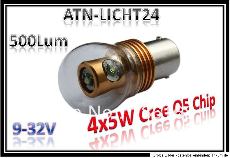 BA15S 12V 24V 4x5W 20W Cree Chip HIGH POWER LED Lampe wie P21W Xenon Weib 6000K<br><br>Aliexpress