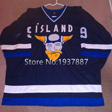 Mighty Ducks 2 Movie Rare Island Nwot Gunnar Stahl Iceland Hockey Jersey Blue Embroidery Stitched Customize any number and name