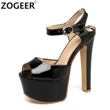 Plus Size 46 New 2017 Summer Gladiator Women Sandals Fashion Platform 16CM Extreme High Heel Black White Wedding Shoes Woman(China)