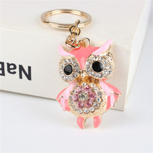 Pink Owl Bird Pendant Charm Rhinestone Crystal Purse Bag Keyring Key Chain Accessories Wedding PartyHolder Keyfob Gift(China)