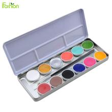 12 Colors Face Body Oil Painting Makeup Halloween Party Fancy Dress Makeup Tools with Cosmetic Brush Body Art Paint Tattoo Color