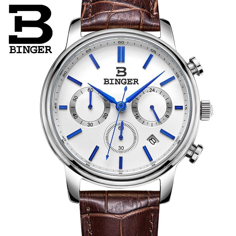 Switzerland BINGER mens watch luxury brand Quartz waterproof Chronograph Stop clock leather strap Wristwatches B9005-2<br>