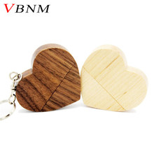 VBNM wooden Heart USB Flash Drive Pendrive 64GB 32GB 16GB 8GB U Disk USB 2.0 Memory Stick logo for photography wedding gifts(China)