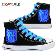 Coshome Shingeki No Kyojin Shoes Attack On Titan Cosplay Shoes High Platform Canvas Shoes Board Luminous Shoes