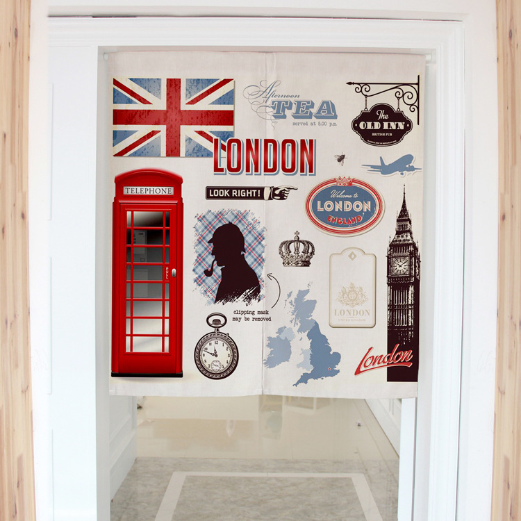 Retro British style flag london telephone booth decorative door curtains fabric home screens partition bathroom kitchen curtains<br><br>Aliexpress