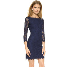Women Mini Sexy Dress Blue Eyelash Lace Long Sleeve Plus Size Mesh Hollow Out Ethnic Slim Dresses Bodycon Elegant Dress Retro(China)