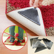 4 pcs Silicone Grip Rug Carpet Mat Non Slip Skid Grippers Reusable Washable Black Color(China)