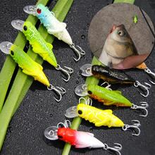 5Pcs 4cm Artificial Fake Grasshopper Insects Shape Outdoor Fishing Lures Tackle Hard Bait with Hook Color Random