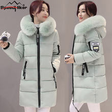 Speed Hiker Winter jacket Women 2017 Mid-long Thicken Warm cotton-padded Down Parkas Coat Faux Fur Collar Hooded Jacket for girl