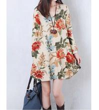 2016 spring and autumn new ladies dress code printing A large section loose cotton V-neck long-sleeved dress(China)