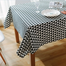 Black White Striped Tablecloths Fresh Style Decorative Elegant Waterproof Tea Table Cloth High Quality Cotton Linen Table Cover