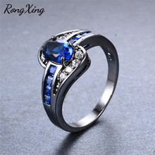 RongXing Elegant Blue AAA Zircon Rings For Women Wedding Band Jewelry Vintage Black Gold Filled September Birthstone Ring RB0756