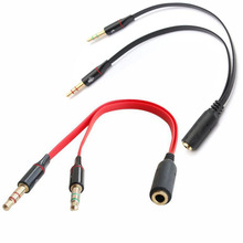 3.5mm jack 1 Female to 2 male phones Headphone Earphone Audio Cable microphone Splitter Adapter Cord to Laptop Notebook Computer