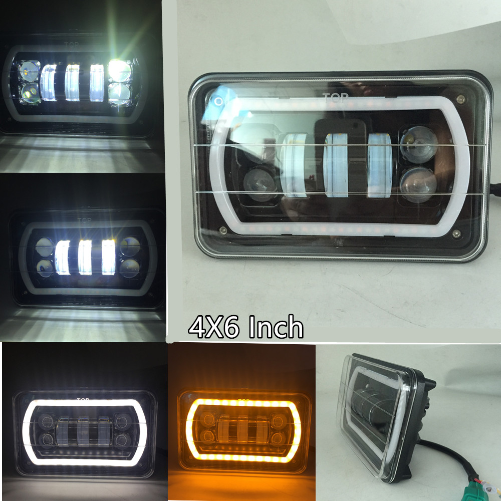 4x6 LED Square Headlight Conversion White DRL Amber Led Halo Projector Headlight Replace HID Xenon For Truck Peterbilt Kenworth<br>