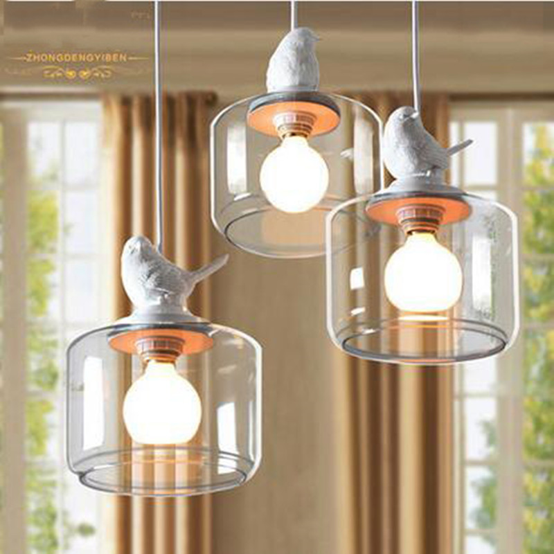 American style village creative bird pendant lamp for coffee room countryside dinning room Single head of  of  Chandelier<br>
