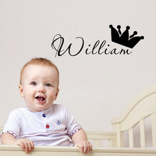 Custom Any Kids Name Crown DIY Wall Sticker Art Decals for Tiny Tots Room Decor Personalized Boy Name Vinyl Wall Art Murals A931