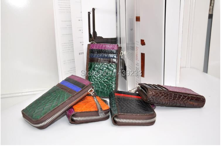 100% genuine crocodile leather skin  zipper wallet and purse  alligator skin key holder<br><br>Aliexpress