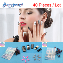 2017 Hot 40 Sheets Nail Stickers Wholesale for Women Beauty Nail Art Tools Airbrush Giltter Template Laser Nail Decals Stickers