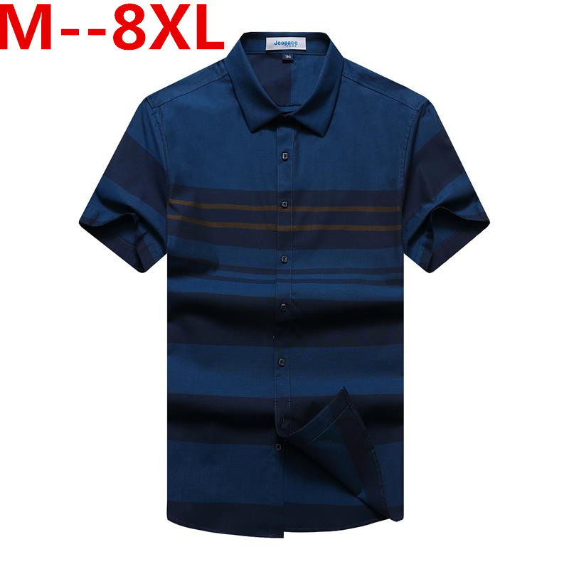 Plus 10XL 8XL 6XL 5XL New short casual shirt men brand clothing fashion striped shirt male top quality 100% cotton plaid shirt