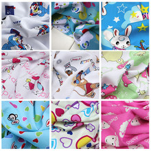 Cartoon Printed Silk Fabric , Breathable Silky Cotton Fabric ,Slight Sheer,Sew for Baby Clothing,Top, Scarf, Pant,Dress by meter(China)