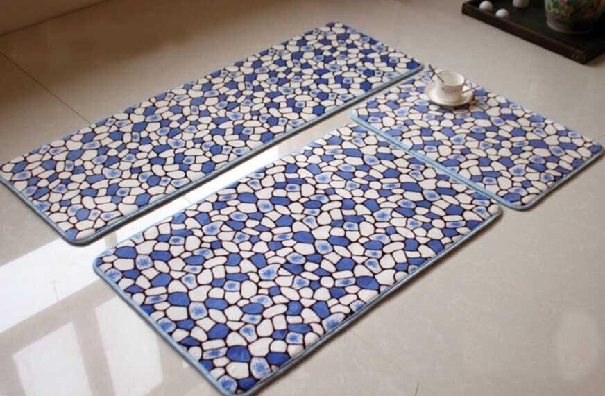 1set 3pcs Memory Foam Bedside Mat Kitchen Carpet Set Dustproof Porch China
