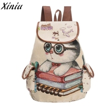 Women Bag Backpack Cute Cat Printing Canvas Drawstring Backpack Shopping Bag Travel Bag Mochila Feminina #9905(China)