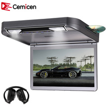 Cemicen 13.3 Inch Car Roof mount DVD Player Flip Down HD 1080P Video TFT Wide Digital Screen USB/SD/HDMI/MP5/IR FM Transmitter(China)
