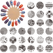 1PC Hand-painted Original Design Round Stainles Steel DIY Image Stamping Nail Art Plates Templates Stencils 30 Styles For Choose