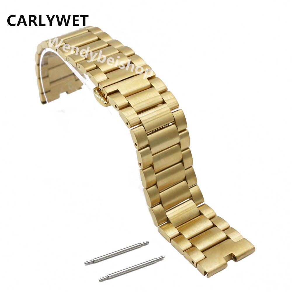 CARLYWET 22mm New Gold 316L Steel Bracelet Wrist Watchbands Strap Belt Double Push Clasp For Moto Motorola 360 Smart Watch 1gen<br><br>Aliexpress