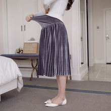 1872# 2017 Autumn Winter Korean Fashion Maternity Skirts A Line Pleated Elastic Waist Belly Bottoms for Pregnant Women Pregnancy(China)