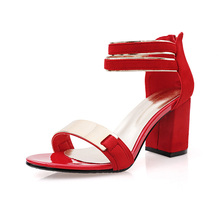 2016 fashion Women Sandals woman Square High Heels Open Toe  Gladiator Ankle-wrap zip sequined wedding red black Sandals K226
