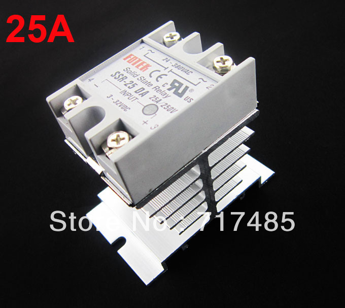 Single Phase Solid State Relay 25A /250V SSR Input 3-32VDC Output 24-380VAC + Aluminum Heat Sink Small Type Heat Dissipation<br><br>Aliexpress